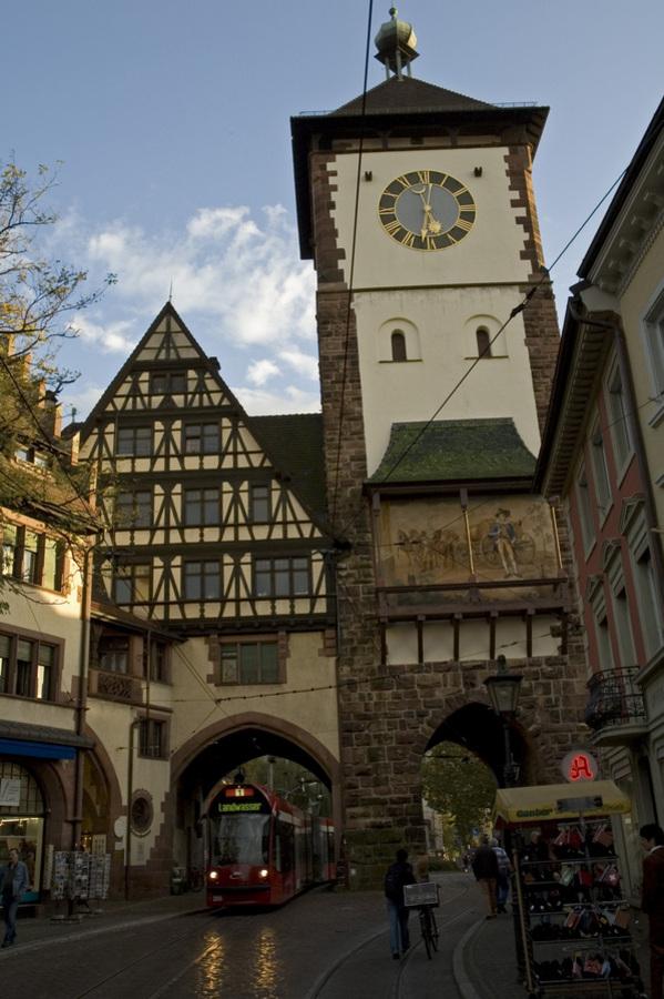 Schwabentor With Tramway Freiburg Im Breisgau